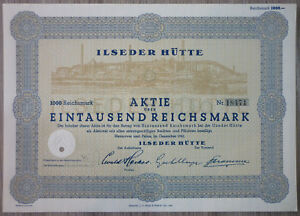 Aktie, Hanover, Ilseder Hütte 1941, (Art.3188)