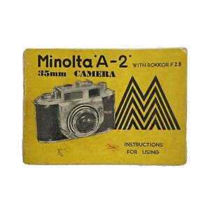 Minolta A-2 Owners Manual Guide Book Vintage Yellow Instructions