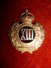 The 13th Hussars Bi-metal Collar Badge, WW1