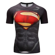 Mens Gym T-shirt Superman Superhero The Punisher Marvel Compression Armour Top