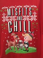 Rudolph christmas shirt mens Large new red reindeer hermie misfits W3