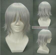 Okita Souji Gokudera Hayato Allen Walker Xerxes Break silver white cosplay wig