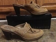 CLARKS WOMEN'S BROWN SUEDE LEATHER FASHION MULES HEELS SHOES SIZE 5M