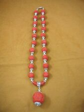 "(v498) Red Cinnabar carved wood ball circle + silver Bead 22"" Necklace JEWELRY"