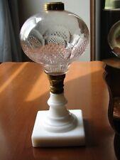 c1871 Boston Sandwich Oil Lamp Clear Glass Buckle Font Mg Base w/Brass Fittings