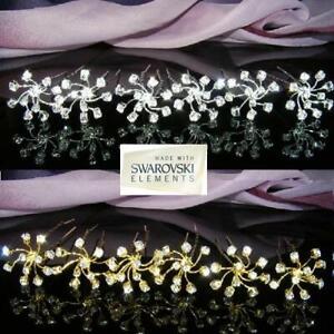 6 PCS Bridesmaid made with Swarovski Crystal Silver / Gold Hair Pin Tiara  H030G