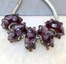5PCS silver hallmarked Single Core Murano Glass Beads fit Charms Bracelet AOC216