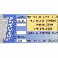 WARREN ZEVON Concert Ticket Stub MILWAUKEE WISCONSIN 2/26/90 UWM BALLROOM Rare
