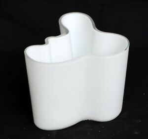 Vintage MCM Alvar Aalto Iittala Finland Large Biomorphic White Cased Glass Vase