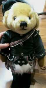"""NOS MerryThought Tan Scottish Mohair Teddy Bear. Hand Made in England, 17"""" tall"""