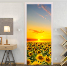 Yellow sunflower field Self-adhesive Door sticker Decoration mural Removeable
