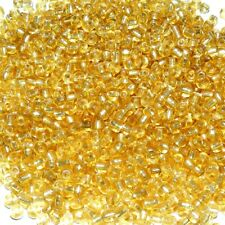 50g Vidrio Hexagonal Seed Beads-Amarillo silver-lined 2-cut aprox 2 mm tamaño 11//0