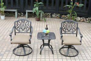 Patio bistro set outdoor swivel rocker Elisabeth design chairs cast aluminum 3pc