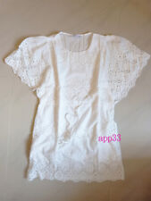 Vtg 70s ANGEL ALLOVER Cut-out CROCHET Embroidery Mexican Party mini Dress/ top