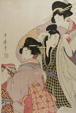 Two Geishas and a Tipsy Client Kitagawa Utamaro Japan Frauen Tracht B A3 02763