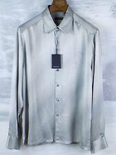 $199 NWT Men's Bugatchi Uomo Long Sleeve Woven Shirt Gray Size Large