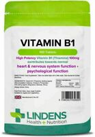 **Lindens Vitamin B1 Thiamine 100mg Tablets (100) High Potency Heart &  Nervous
