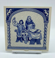 "Dutch Handmade Delft Blue 6"" Tile Antique Apothecary Holland Hook Pharmacist"