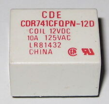 CDE 12V Coil 10 Amp Relay Rated at 125 VAC - Compact 12 V PC Mount Relay CDR741