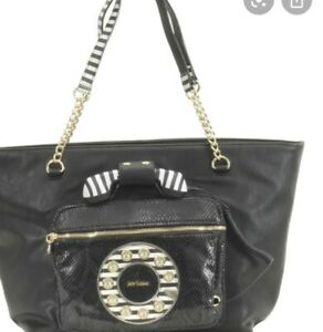 $128 Betsey Johnson black phone Xl tote  Hold Please A6