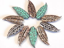 10 - 2 HOLE SLIDER BEADS FANCY SWIRLED LEAF, LEAVES COPPER SILVER BRASS & PATINA