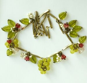 Vintage link necklace with glass flowers, beads, leaves