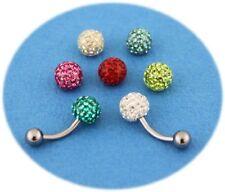 Pack piercing nombril titane G23 boule cristal 7 couleurs