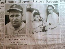 1938 newspaper photo Boston Red Sox star JIMMIE FOXX suffers severe SINUS ATTACK
