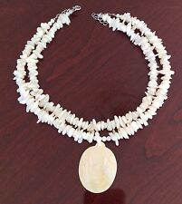 New. Cream Mother of pearl  beaded necklace with pendant by Lee Sands