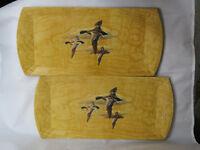 Lot of 2 ~ Hasko TRAY MALLARDS DUCKS IN FLIGHT Vtg Lithographed Wood Veneer(D7)