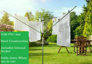 3 ARM ROTARY AIRER CLOTHES DRYER GARDEN WASHING LINE FOLDING OUTDOOR DRY 30M UK