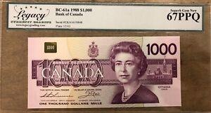 1988 Bank of Canada $1000 Note PMG Superb Gem Uncirculated 67 EPQ - Cat#BC-61a