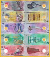 Maldives Set 5, 10, 20, 50, 100 Rufiyaa 2015-2017 UNC Polymer Banknotes
