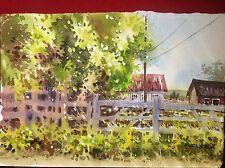 Original Watercolor FARM OFF BYRON HIGHWAY CA Plein Air Pamela Wilhelm