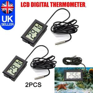 2PCS Digital LCD Temperature Aquarium Thermometer Probe Fish Tank Reptile Fridge
