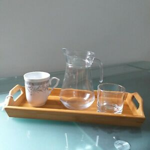 Natural Bamboo Rectangle Wooden Tray platter Serving Breakfast kitchen tea tray