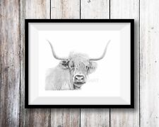 Dibujo a lápiz de impresión arte Vaca Highland Wildlife Animal Dibujo A4 Pared Arte firmó