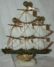 Handmade Mini Decoraive FolkArt Nautical Scallop & Sea Shell Sailing Ship Statue