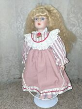 Vintage Anco porcelain doll 1993 blonde with glasses, pink dress and jump rope