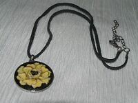 Estate Cream Enamel Flower Pendant on Black Fabric Cord & Oxidized Silvertone