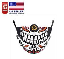 Sugar Skull Face Mask. Washable & Cotton Filter Pocket Biker Halloween NEW