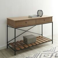 Vintage Wood and Metal Console Table with Criss-Cross in Brown/Antique Bronze