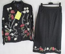 LADIES QVC CASUAL & CO SHIRT SUIT HEAVY BLACK DENIM FLORAL EMBROIDERY  NWT UK L