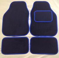 BLACK WITH BLUE TRIM CAR FLOOR MATS FOR PEUGEOT 106 107 206 207 307 308 407