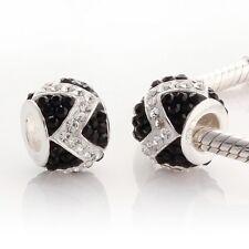 Genuine Solid Sterling Silver 925 European Zig Zag Round Bead For Charm Bracelet