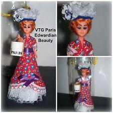 Vtg Mid Century Edwardian Miniature Hat Shopping In Paris Sleepy Eyed Doll