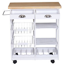 Modern Kitchen Trolley Serving Cart Storage Drawer Shelves Wine Rack Wire Basket