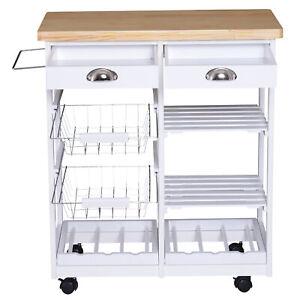 Modern Kitchen Trolley Serving Cart Storage Drawer Shelves Wine Rack Wire Basket