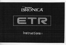 Bronica ETR Instruction Manual photocopy