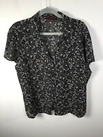 Suzanne Grae womens black floral button up shirt blouse size 16 short sleeve